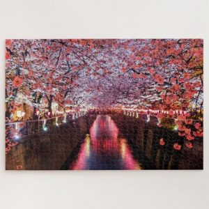 Canal between Cherry Blossoms in Japan – 1000 piece jigsaw puzzle