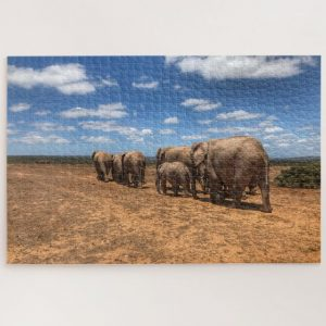 Moving Herd of Elephants – 1000 piece jigsaw puzzle