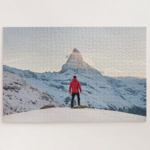 Person in Red Vs Mountain – 1000 piece jigsaw puzzle