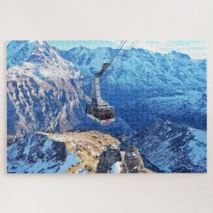 Ski Lifts Over Snowy Mountains – 1000 piece jigsaw puzzle