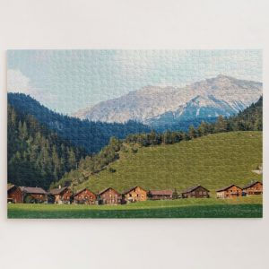 Switzerland Village near Mountain Valley – 1000 piece jigsaw puzzle